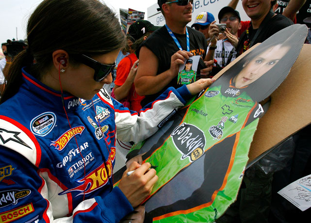 Danica meets with fans before her drive in the Carfax 250 in Michigan.