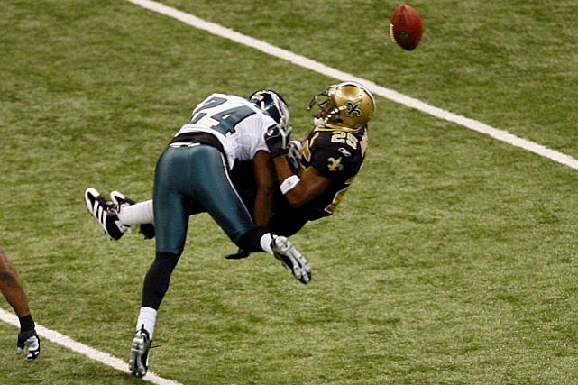 The Saints advanced to the playoffs in Bush's first season and beat the Eagles in the Divisional Round before losing to the Bears in the NFC Championship game. Despite taking this huge hit from Sheldon Brown, Bush later scored a touchdown in the Saints' 27-24 victory over the Eagles.