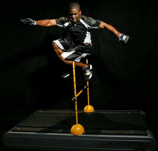 Bush shows off his agility during an offseason workout with the Saints.