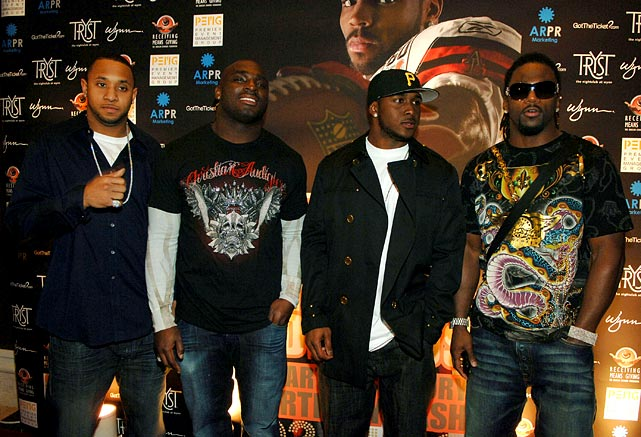 Steve Smith, Ruben Droughns, Donte Stallworth and Bush arrive at Braylon Edwards' 25th birthday party in Las Vegas.