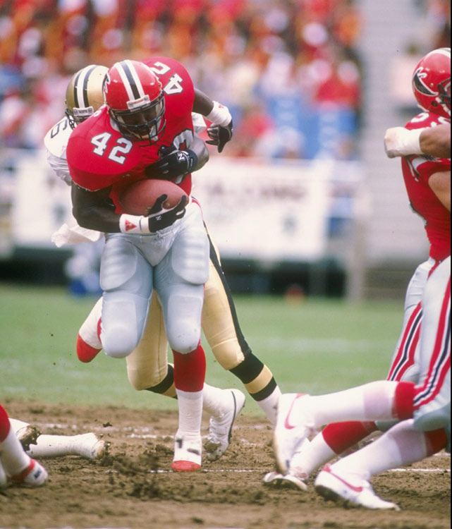 A three-time Pro Bowl selection, Gerald Riggs had the best game of his career the year before registering his best season. In a Week 1 conference showdown versus the Saints, Riggs fired on all cylinders, rushing 35 times for 202 yards and two touchdowns.