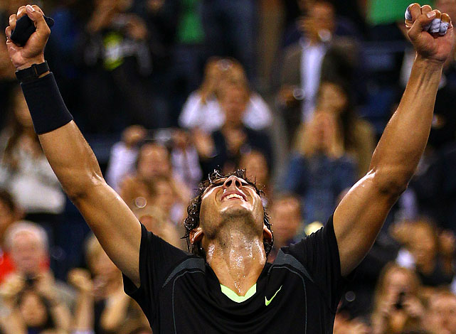 Nadal won his first U.S. Open title to complete a career Grand Slam, beating Novak Djokovic in a match filled with fantastic shotmaking by both men and interrupted by a thunderstorm a day after it was postponed by rain. It's Nadal's third consecutive major championship and ninth overall. He is the seventh man in tennis history with at least one title from each Grand Slam tournament.