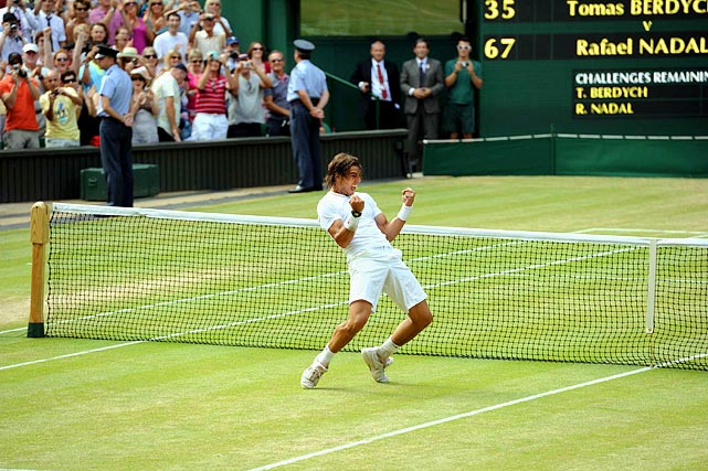 With Federer missing the Wimbledon final for the first time since 2002, Nadal rolled over the Czech to win the French and Wimbledon titles in the same summe for the second time in the past three years. Nadal broke Berdych four times and never lost his serve in the match. He improved to 5-0 in his last Grand Slam finals.