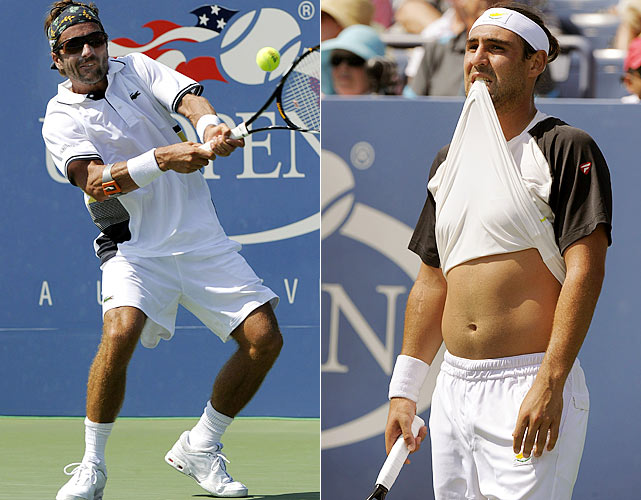 In staggering heat for three-and-a-half hours on Aug. 31, Frenchman Arnaud Clement prevailed over Marcos Baghdatis 3-6, 6-2, 6-1, 4-6, 5-7  in an entertaining match on Louis Armstrong Stadium court. Midway through the fifth set, ESPN reported that the temperature on court had reached nearly 120 degrees. Baghdatis, the 2009 Australian Open runner-up, finished with more aces than Clement (22-6) and more winners (56-42) but played high risk tennis that felled him in the end.