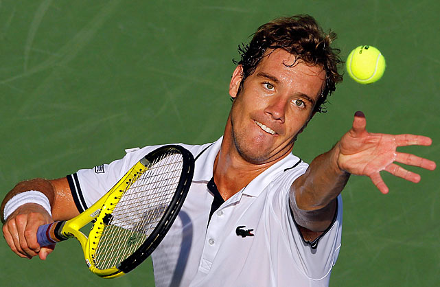 The Frenchmen Richard Gasquet, who reached a career-high ranking of No. 7 three years ago but was unseeded at this year's Open, lost only seven of 52 points on his first serve as Nikolay Davydenko made his quickest U.S. Open exit in five years. A semifinalist at the Open in 2006 and 2007, Davydenko failed to capitalize on all of his eight break-point opportunities in Gasquet's  6-3, 6-4, 6-2 win.