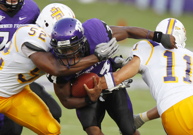 In a 62-point outburst, the Horned Frogs recorded their 15th straight victory at home with a win over the Golden Eagles, who are now 0-26 all-time against FBS teams. Six different TCU players rushed for touchdowns in the win.