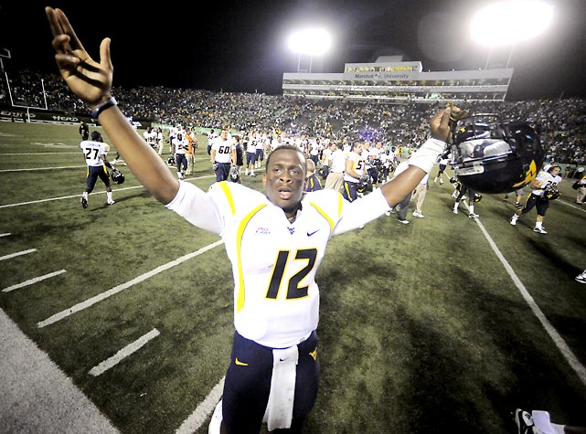 The Mountaineers trailed Marshall by 15 points in the fourth quarter, but quarterback Geno Smith rallied the troops and forced overtime, where a field goal allowed West Virginia to escape the upset.