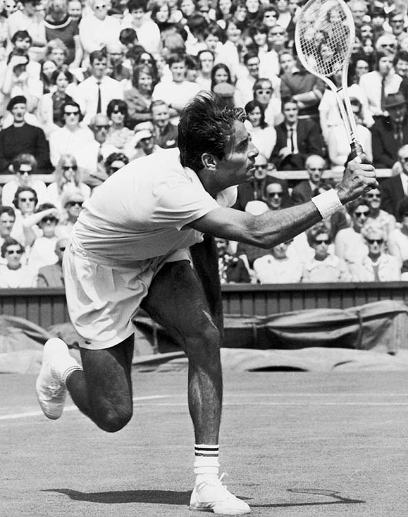 Pancho Gonzalez taught himself to play and became one of the game's biggest stars in the '50s and early '60s. He also underwent tremendous adversity, often facing racism in a predominantly Caucasian sport. He may be best remembered for taking part in 1969 during Wimbledon, when he beat 25-year-old Charles Pasarell (22-24, 1-6, 16-14, 6-3, and 11-9) in a 112-game match that lasted 5 hours, 12 minutes.