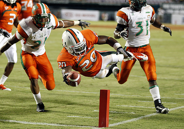 Damien Berry gets in a little airborne training while finishing off a 32-yard scoring play. Jacory Harris threw for 210 yards and three touchdowns before sitting out the second half as the Hurricanes prepared for No. 2 Ohio State next week by scoring 35 points in the game's first 25 minutes.