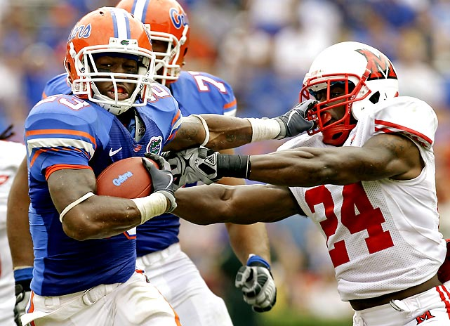 Gator running backs Mike Gillislee (pictured) and Jeff Demps each broke off one big run, but the offense struggled in Florida's first game without Tim Tebow. The score was 21-12 in the fourth quarter, and Florida did not perform nearly as well as the final score indicates.