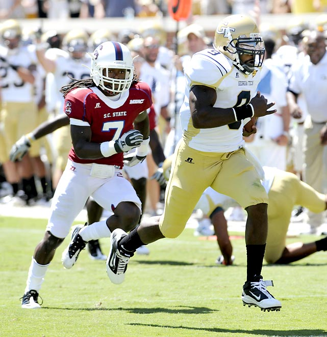 Georgia Tech quarterback Josh Nesbitt only attempted one pass, but he ran 16 times for 130 yards and three touchdowns in the Yellow Jackets' big win.