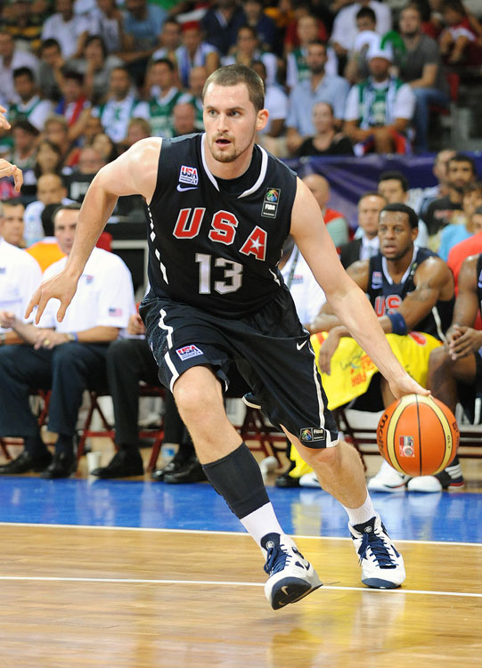 As one of the biggest guys on Team USA's small roster, 6-foot-10 forward Kevin Love stepped up in the Americans' second preliminary round victory, recording a double-double of 10 points and 11 rebounds in just 13 minutes of play.