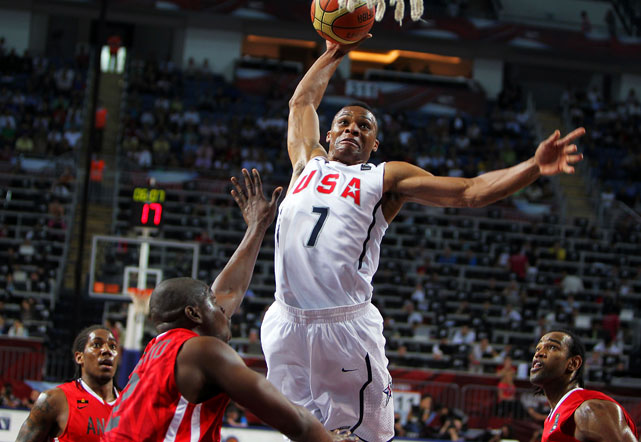 After plowing through group play, the U.S. got off to a strong start in the knockout round by dropping Angola by a whopping 55 points. Oklahoma City Thunder guard Russell Westbrook tallied six assists and this massive dunk in the Americans' first do-or-die win.