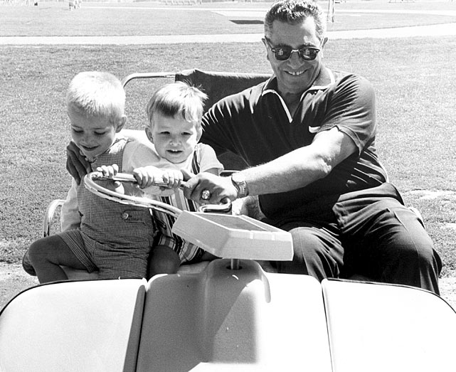 Lombardi shares a light moment with his grandchildren at Redskins' training camp at Dickinson College in Carlisle, Penn.