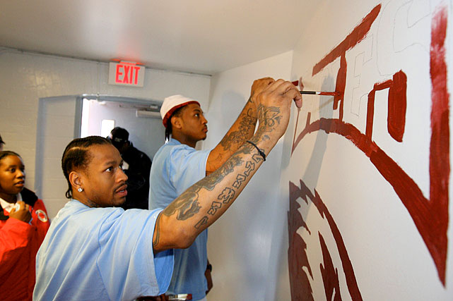 Iverson and Denver teammate Carmelo Anthony (back) paint the walls at a New Orleans elementary school during the NBA's All-Star Day of Service in 2008. Iverson garnered his share of All-Star nods, making the team 11 consecutive times, beginning in 2000.