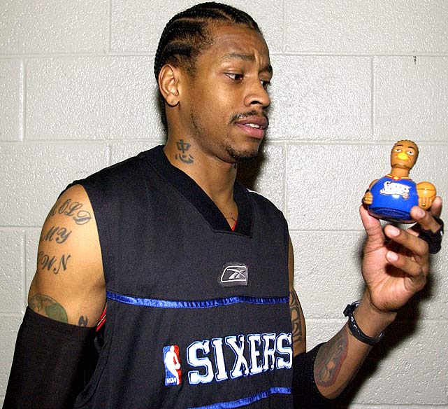 Bearing quite the resemblance to the Philadelphia standout, Iverson's Celebriduck was distributed to 5,000 children during the Sixers' showdown with the Spurs on Jan. 11, 2002. Iverson baffled San Antonio defenders all night, scoring 37 points amid a 101-84 rout.