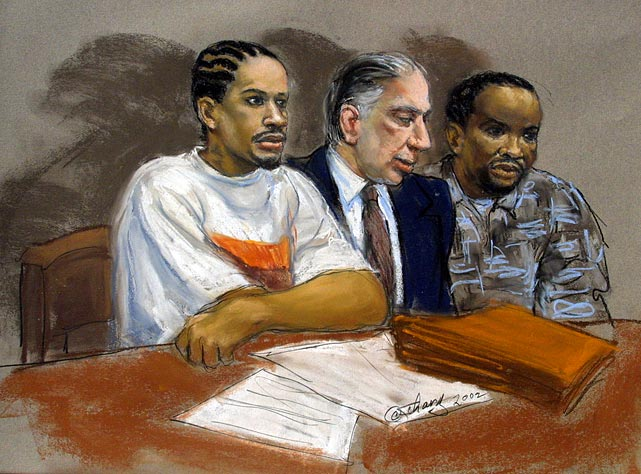 Iverson is depicted alongside his attorney, Richard Sprague, and uncle Gregory Iverson in a courtroom sketch for his hearing in 2002. Iverson was charged with breaking into an apartment while looking for his wife, though the charges were eventually dismissed.