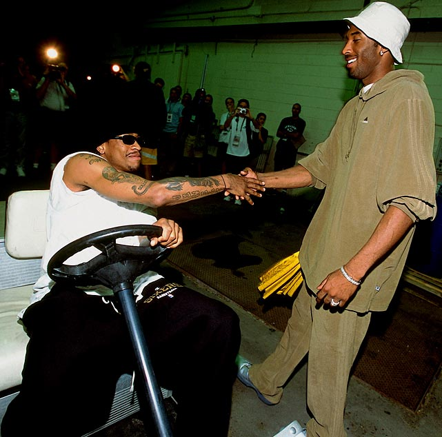 Iverson greets Kobe Bryant before a contest at the Staples Center in 2001. The Lakers and the 76ers became very familiar with each other that year, as they faced off in the Finals. Iverson dropped a whopping 48 points in a Game 1 victory, but L.A. took the next four to win their second consecutive NBA title.