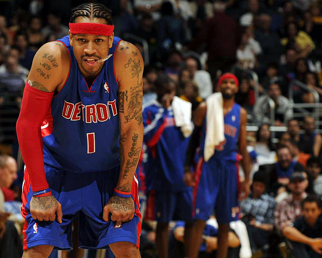Acquired in a trade for guard Chauncey Billups and forward Antonio McDyess, Iverson joined the Pistons early in their 2008-09 campaign. He'd make 54 appearances for the team, averaging 17.4 points per game as they finished a pedestrian 39-43. It would be his only season in Detroit.