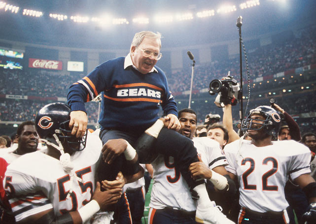 The architect of the Bears' famed 46 Defense, Buddy Ryan is lifted on the shoulders of his defense after Chicago's Super Bowl victory.