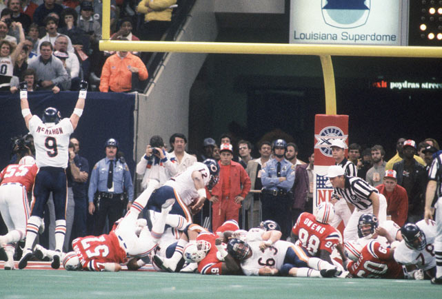 The most memorable moment of Super Bowl XX was The Refrigerator's one-yard touchdown dive to make the score 44-3.