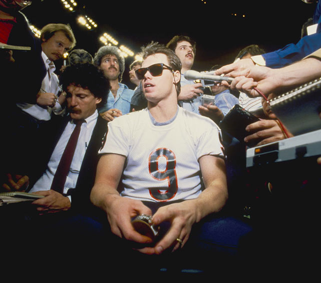 "The team's most colorful player was quarterback Jim McMahon, a fourth-year QB out of Brigham Young. He gained notoriety over the season for a flap with NFL Commissioner Pete Rozelle, who fined McMahon $5,000 for wearing a headband with a corporate logo -- Adidas -- without permission. The next week, the QB wrote ""Rozelle"" on his headband, which the Commissioner admitted was ""funny as hell"" (though he didn't rescind the fine)."