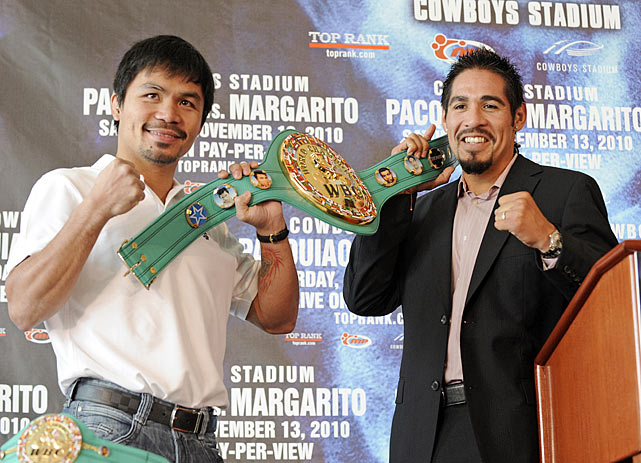 Manny Pacquiao is fighting Antonio Margarito for the WBA super welterweight championship on Saturday, Nov. 13 at Cowboys Stadium in Arlington, Texas. Pacquiao is gunning for a world championship in a record eighth different weight division. The fight will take place at a catch-weight of 150 pounds.