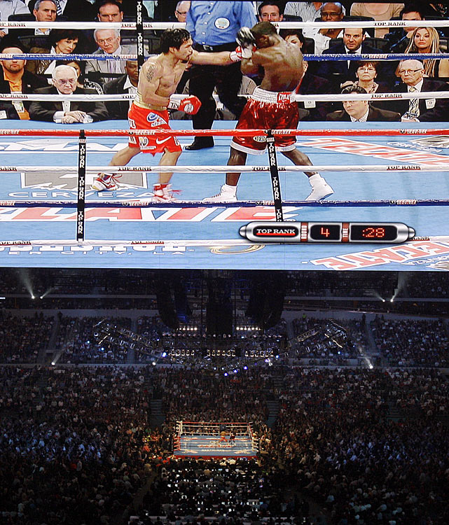 The fight will mark the second boxing event in Cowboys Stadium history after Pacquiao's lopsided decision victory over Josh Clottey on March 13. Nearly 51,000 fans turned out for Pacquiao's 51st professional victory.