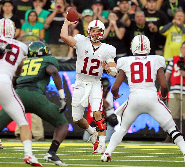 Last Week:  29-of-46 for 341 yards, two TDs and two INTs; eight rushes for 39 yards and one TD in 52-31 loss to Oregon.   Season:  93-of-148 passing for 13 TDs and four INTs; 25 rushes for 202 yards and two TDs; one reception for 11 yards.  Though Luck and the Cardinal managed to do fine without Toby Gerhart in the backfield in their first four victories, they ran into problems against the Ducks. Without a real threat in the backfield, the play-action wasn't effective and the pressure was on Luck. He passed for a season-high 341 yards but also threw two picks, giving him four on the year to equal his 2009 total.  Next Up: Saturday vs. USC