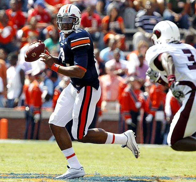 Last Week : 14-of-19 passing for 245 yards, three TDs and one INT; one rush for minus-11 yards in 52-3 win over Louisiana-Monroe.   Season:  57-of-87 passing for 928 yards, 12 TDs and four INTs; 76 rushes for 474 yards and five TDs; one reception for 22 yards; one punt for 22 yards.  After Newton ran 75 times during the first four games, head coach Gene Chizik and quarterbacks coach Gus Malzahn opted to give their QB's body a rest. They didn't ask Newton to run once (his lone rushing stat was a sack) in the blowout win over Louisiana-Monroe. Instead, they had Newton rely on his arm, something he'll certainly be asked to do in SEC play, as he passed for three TDs before sitting out most of the second half.  Next Up: Saturday at Kentucky