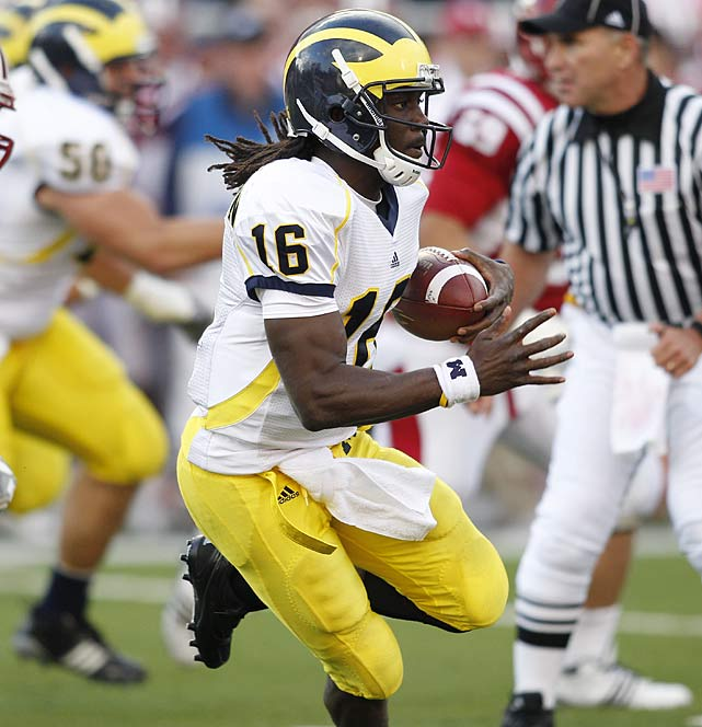 Last Week:  10-of-16 passing for 277 yards and three TDs; 19 rushes for 217 yards and two TDs in 42-35 win over Indiana.   Season:  67-of-96 passing for 1,008 yards, seven TDs and one INT; 98 rushes for 905 yards and eight TDs; one punt for 30 yards.  In racking up 494 yards against the Hoosiers, Robinson became the first player in FBS history with two games with 200 yards passing and 200 yards rushing during the regular season -- and he's done it in a span of four weeks. But Shoelace's candidacy is about to be put to the test as the Wolverines begin a grueling three-game stretch of Michigan State, Iowa and Penn State against a Spartans defense that just ended John Clay's 100-yard game streak.  Up Next: Saturday vs. Michigan State