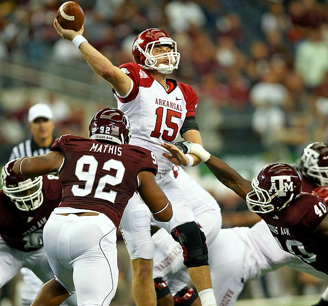 Last Week : 27-of-38 passing for 310 yards, three TDs and one INT; five rushes for minus-14 yards in 24-17 win over Texas A&M   Season : 95-of-138 passing for 1,438 yards, 10 TDs and five INTs; 14 rushes for minus-10 yards and two TDs; one punt for 43 yards  Mallett continued his streak of 300-yards games this season, but the performance wasn't without its concerns. After throwing for three first-half touchdowns he directed the Razorbacks to just three second-half points for the second straight week and struggled with the Aggies pressure. He also tossed his sixth interception of the season, one less than he had in all of 2009. String of 300-yard games or not, he needs a big game versus Auburn to climb up the rankings.   Up Next : Saturday at No. 7 Auburn