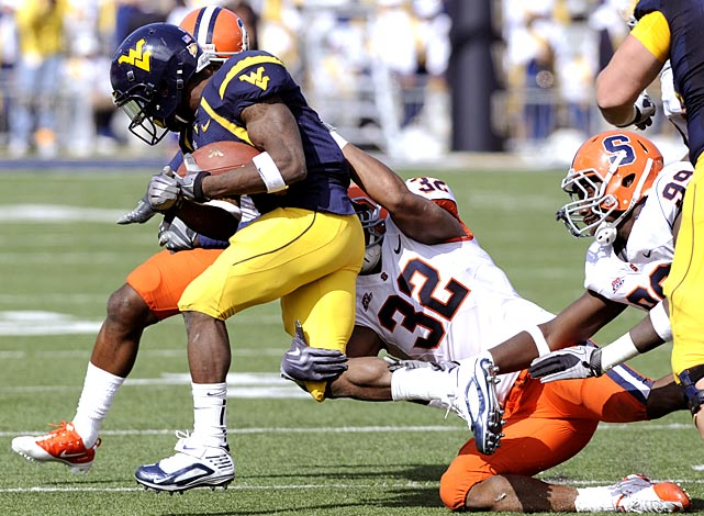 Entering this game, West Virginia quarterback Geno Smith had thrown two interceptions on the year. He threw three Saturday against Syracuse. The Orange only managed to turn those picks into field goals, but their swarming D kept Smith on his heels during a scoreless second half, resulting in an upset win for Syracuse and West Virginia's first loss of the season.