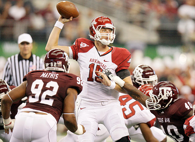 Ryan Mallett and Arkansas earned some more legitimacy by going on the road and beating a tough nonconference opponent, but the Razorbacks nearly let this one slip away. A&M quarterback Jerrod Johnson attempted a Hail Mary on the final play, but Tramain Thomas picked the pass in the end zone.