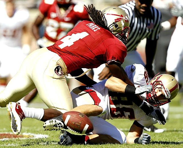 Florida State came out flat against Boston College one week after hammering in-state rival Miami, but the Seminoles overcame four turnovers by quarterback Christian Ponder to squeeze out the win. The FSU defense surrendered 191 rushing yards to Montel Harris, but held BC to 95 passing yards.