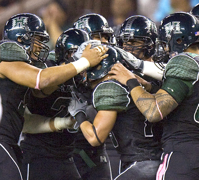 The Warriors' primary impact over the last half-century has come on the offensive side of the ball. But Hawaii's defense secured this WAC upset, limiting Nevada Colin Kaepernick to 159 yards passing and dashing the Wolf Pack's dreams of an undefeated season.