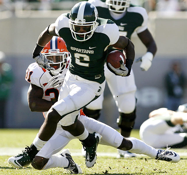 The Spartans started slowly a week after toppling arch-rival Michigan, trailing the Illini 6-3 at the half. But Michigan State outscored Illinois 23-0 in the second half to win the game -- and advance to 7-0 for the first time since 1996.