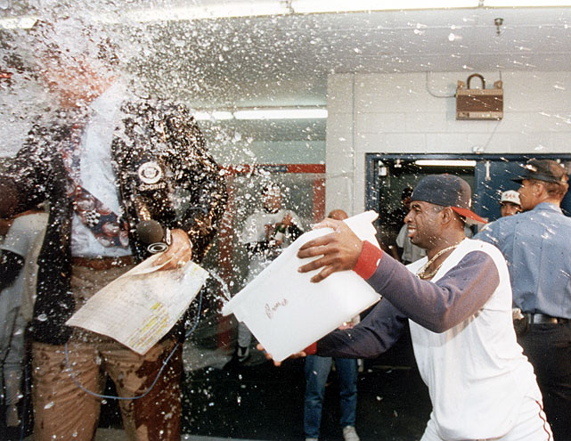 "Following the Atlanta Braves' victory in the 1992 NLCS, Deion Sanders celebrated by pouring an ice-cold bucket of water on broadcaster Tim McCarver.  McCarver, who previously denounced Sanders for attempting to play for both the Atlanta Falcons and Braves on the same day, was vindicated when ""Prime Time"" was dumped with a $1,000 fine."