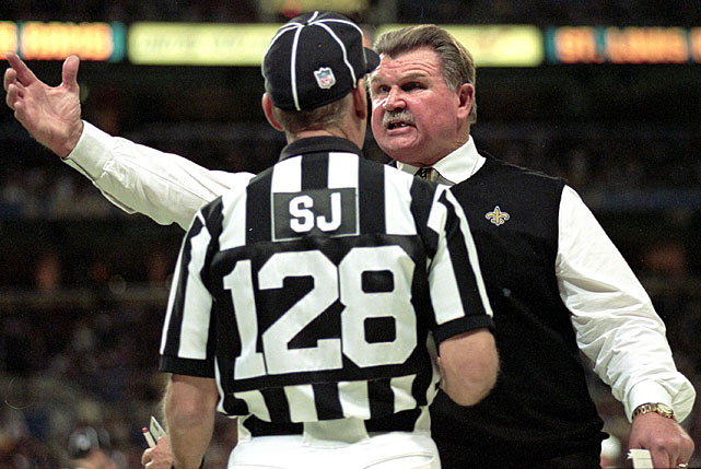 Unhappy about a heartbreaking loss to the Tennessee Titans in 1999, New Orleans Saints fans cursed out head coach Mike Ditka for the defeat.  Ditka responded brashly -- flashing his middle finger and grabbing his crouch -- earning the coach a hefty $20,000 fine.