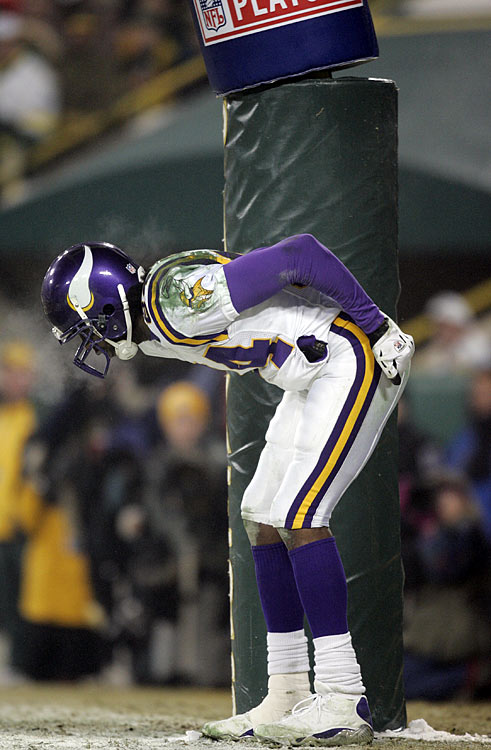 "During an NFC Wild Card Playoff Game against the Green Bay Packers in 2005, Vikings receiver Randy Moss streaked down the sideline to corral a game-changing touchdown pass from quarterback Daunte Culpepper.  That wasn't all Moss did, though, as the star wideout pretended to moon the Lambeau Field faithful in celebration.  Moss was saddled with a $10,000 fine for his gesture, which the wideout infamously promised to pay in ""straight cash, homey."""