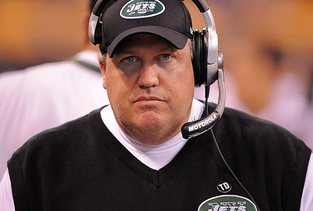 "New York Jets head coach Rex Ryan is well-known for his tendency to run his mouth.  In Feb. 2010, Ryan's hand did his talking.  The coach was fined $50,000 by the Jets after making an obscene gesture to Miami Dolphins fans at a mixed martial arts event.  Ryan had already provoked Dolphins fans earlier in the night, stating, ""Hey, we're coming to beat you twice next year,"" in a ringside interview."