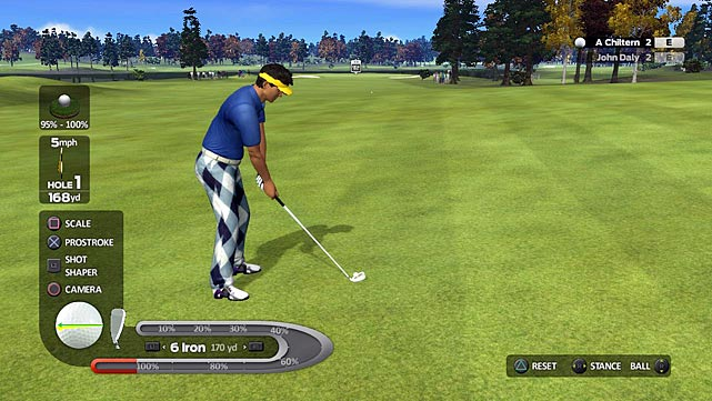 John Daly's ProStroke Golf doesn't show up on the scene with the clout of Tiger's EA behemoth, but don't judge the game by its cover...or cover athlete...or cover athlete's hideous pants. Once you get onto the course, ProStroke can hang  with Tiger's title. Between the ping of the ball and the vibrating controller, each shot has enough weight to make you feel like you're actually striking a real ball.    The first person view transfers you right onto the course, as you look directly down on the ball before each shot. Punches, chips, and different drives are all available and you can even shift your weight from your front foot to back to change your power.    It's all the little things that drag down Daly's game. The graphics are half a step above a PS2 title; it sounds like they brought Hal back from 2001: A Space Odyssey to record the commentary tracks; and there's very little character customizations. The menus are also incredibly sensitive to the Move, often resulting in multiple attempts just to get onto the course. While the actual gameplay is comparable to Tiger, Daly and company need to fix the rest of the games flaws to compete.   Score: 7/10