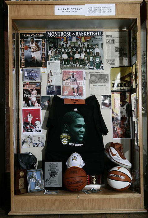 A legend during his basketball adolescence as well, Durant is honored in this trophy case at Seat Pleasant Activity Center, where he developed as a youth.  Team photos, an autographed shoe and a spattering of articles are among the memorabilia honoring the Maryland native.