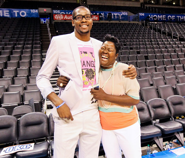 Durant hugs his mother, Wanda Pratt, following Oklahoma City's victory over the Lakers in Game 2 of the Western Conference semifinals.