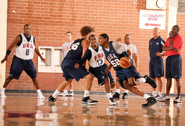 "Durant eyes the hoop in a Team USA basketball tuneup on July 23, 2008 in Las Vegas.  While he didn't make that year's Olympic roster, he'd pioneer the so-called ""B-Team"" to a FIBA World Championship just two years later."