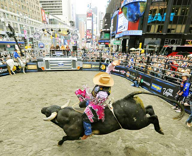 "Robson Palermo from Rio Branco, Acre, Brazil, rides ""Despicable Me""  in Times Square in New York on Oct. 15 as the top 10 Professional Bull Riders (PBR) promoted the 2010 PBR Built Ford Tough World Finals that will take place Oct. 20-24 in Las Vegas."