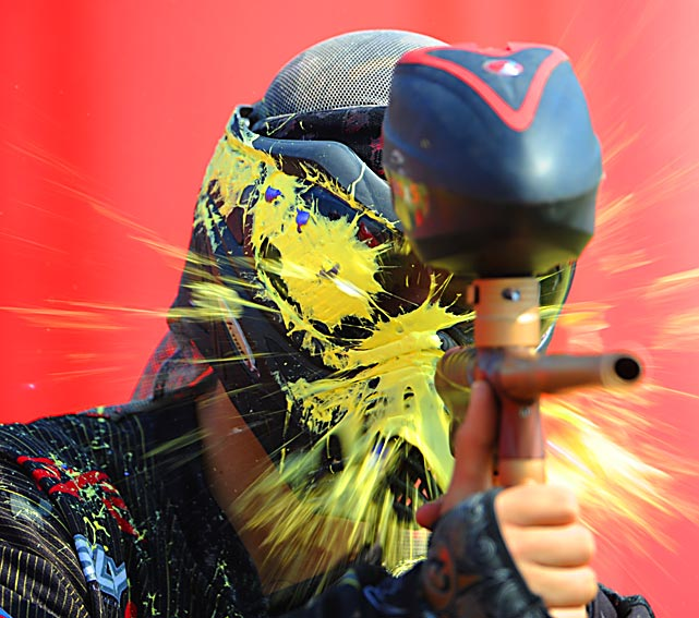 Brandon Rabackoss, 18, playing for Team Zone out of Houston, gets hammered during the Paintball World Cup on Oct. 20 in Polk City, Fla. Five thousand players and fans came from all over the world to take part in the event, which boasts a $40,000 grand prize to the top professional team.