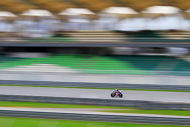 On Oct. 8, Jorge Lorenzo of the Fiat Yamaha Team burned some rubber during the free practice session of the Shell Advance Malaysian Motorcycle Grand Prix held at Sepang International Circuit in Sepang, Malaysia.