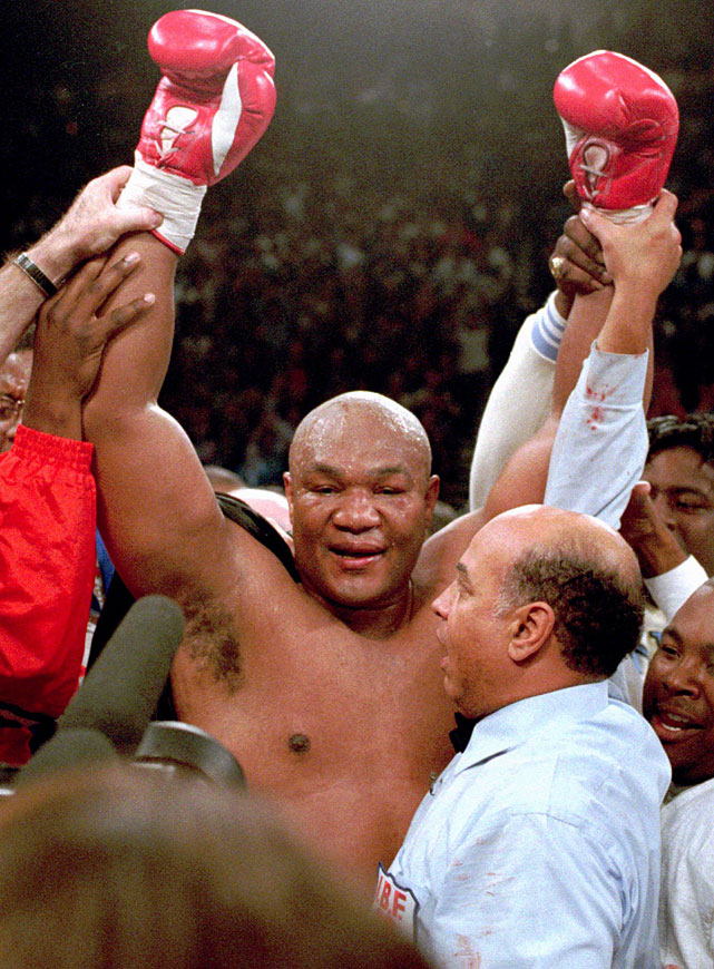 Wearing the same trunks he'd worn 20 years earlier when he lost the title to Muhammad Ali in Zaire, the 45-year-old Foreman knocked out Michael Moorer to become the oldest fighter to win a major title in boxing history.