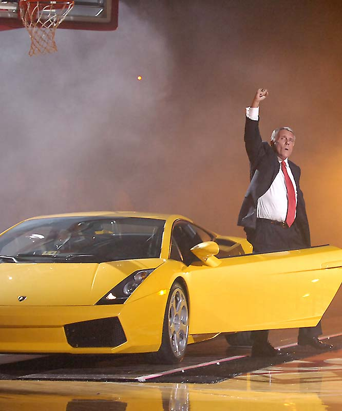 Maryland head coach Gary Williams steps out in style -- behind the wheel of a yellow Lamborghini -- as he arrives at the Comcast Center in 2007.